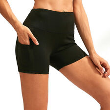 Ladies High Waist Workout Shorts Tummy Control Yoga Fitness Running with Pockets