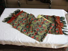 "Mackenzie Childs Upscale RETIRED Ikat PEACOCK Feather 72"" Table RUNNER $465 mc13"