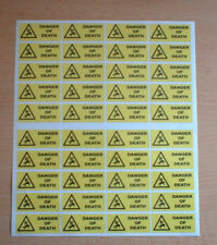 40 X Danger Of Death stickers 50mm X 20mm Warning & Safety Stickers