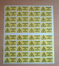 40 X ADESIVI PERICOLO DI MORTE 50 mm x 20 mm adesivi di avvertimento e sicurezza