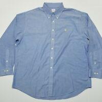 Brooks Brothers 346 Button Front Shirt - Blue - Non Iron - Supima Cotton - XL