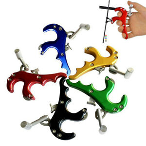 4 Finger Steel Archery Release Aid 5 Color Caliper Release For Compound Bow