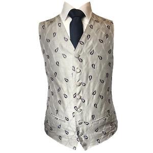 Purple Grey Leaf Waistcoat Vest Wedding Formal UK Men's (A41)