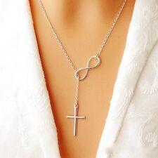 Simple Alloy Silver Plated Cross Charm Choker Chain Pendant Necklace