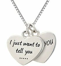 ALOV Jewelry Sterling Silver I just Want to Tell You I Love You Double Hearts Ne