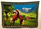 """Tapestry Horses Nature Scenic Mountains Landscape Wall Hanging VTG 52""""X38"""" A.T.C"""