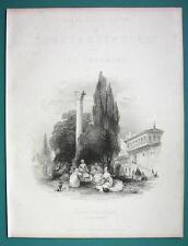 CONSTANTINOPLE Seraglio Palace Garden - 1840 Antique Print by Allom