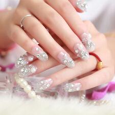 24Pcs/set 3D full cover DIY bride wedding false fake nails tips nail art Dn P#V