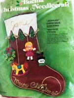"1975 Vintage Bucilla Felt Christmas Stocking Kit Mini Toys 17 1/4""Long 2101 RARE"