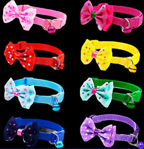 Bow Tie Collar Adjustable Dot Design with Bell For Kitten Puppy or Small Dog Cat