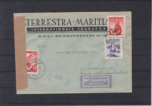 Ö 1949 Zensur Flugpost USA PORTORICHTIG mit Trachten und roter Landschaft