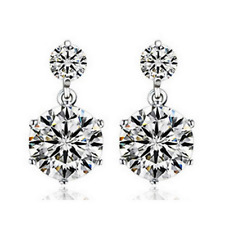 Fashion Elegant Women 925 Silver Plated Crystal Ear Stud Clip Drop Earrings Gift