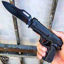 "8"" BLACK Tactical Assisted Spring HAND Gun PISTOL Folding Pocket Knife w HOLSTER"