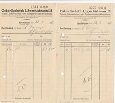 Spechtsbrunn, 2 x 1937 fattura, Oskar eschrich tabacco al cioccolato-zucchero erano-GR