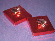 2  American Girl Doll Christmas Gift Boxes Red Gold Bows + Thank you Cards  4P3