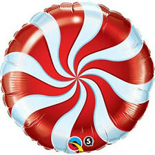 """RED CANDY CANE SWIRL CHRISTMAS WILLY WONKA 18"""" FOIL BALLOON!"""