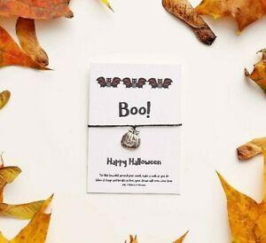 Halloween Wish Bracelet, Pumpkin String Bracelet, Bat Charm Bracelet, Boo card