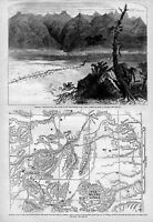MONTANA MAP OF THE YELLOWSTONE RIVER SIOUX WAR GENERAL CUSTER MASSACRE FORT RENO