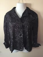 Dressbarn Womens Suit Blazer Jacket Size XL Black Paisley Long Sleeve