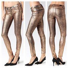 NWT Paige Denim Verdugo Ultra Skinny in Copper Crackle Coated Jeans 24 $269