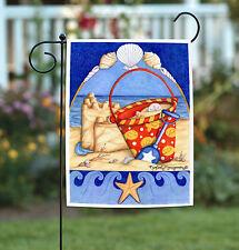 NEW Toland - Bucket 'o Beach - Colorful Summer Sand Castle Seashell Garden Flag