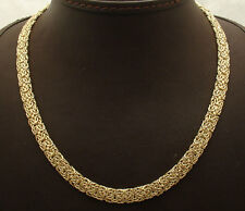 """20"""" 7mm Wide All Shiny Mirror Byzantine Chain Necklace Real 14K Yellow Gold HSN"""