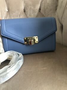 Michael Kors KINSLEY Medium Leather Wallet CrossBody Bag Handbag Clutch Blue New