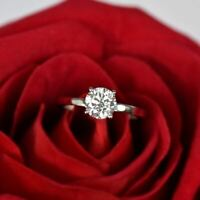 Certified 1.50 Ct Round Cut Moissanite Solitaire Engagement Ring 14k White Gold