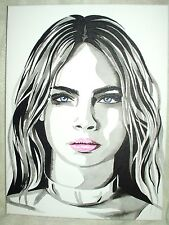 Canvas Painting Cara Delevingne B&W Art 16x12 inch Acrylic