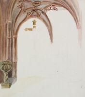 R. SCHMID (1896-1971 Marburg), Kirchenraum mit Kruzifix, um 1950, Aquarell