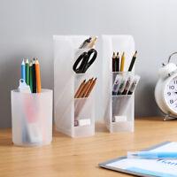 HB- KF_ Desk Clear Pen Holder Storage Box Cosmetic Brush Makeup Tool Organizer L