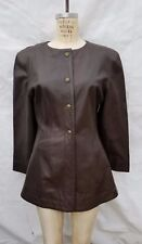 Fabulous FENDI Brown Leather Snap Front Long Jacket SZ 44 Made in Italy