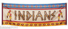 Native American Indians Cowboys Flag Banner Birthday Party Decoration Display