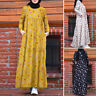 Womens Long Sleeve Layered Floral Printed Vintage Muslim Kaftan Maxi Abaya Dress
