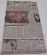 Oregonian Newspaper! November 30, 1984! Front page! Reagan budget and EPA!