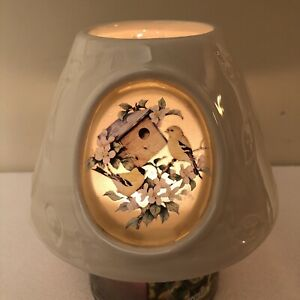 Carolyn Shore Wright Ceramic Shade Jar Topper Large Yankee BIRDS *Light up*