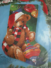 "Bucilla Holiday Christmas Needlepoint Stocking Kit,SANTA BEAR,Rossi,18"",#60722"