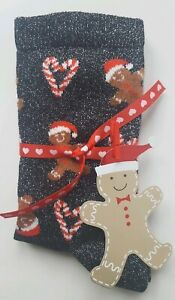 Black Glitter Ginger Bread Man Socks With Ribbon And Gift Tag - A Perfect Gift!