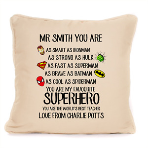 Personalised Worlds Best Teacher Cushion End of Term Gift Christmas Present