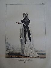 Gravure PORTRAIT COSTUME FEMME ROBE RÉVOLUTION FRANÇAISE MODE LOUIS XVI 1820