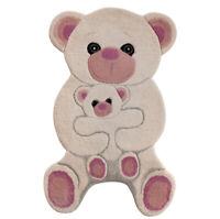 Tappeto camera bagno 100% lana orsacchiotto rosa 60x90 cm scendi letto morbido