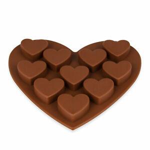Silikonform mit 10 Herzen für Kuchen, Muffin, Cupcake, Schokolade, Farbe: Braun