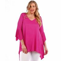 Womens Fuschia Pink Size Sharkbite Bell Sleeves Asym Top Yummy Plus