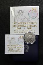5 EURO ARGENTO FDC 150° ANNIVERSARIO DELL' UNITA' D' ITALIA EMESSA NEL 2011