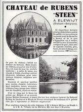 """PUBLICITE  A VENDRE LE  CHATEAU DE RUBENS """" STEEN """"  ELEWIJT  BELGIQUE  AD  1934"""