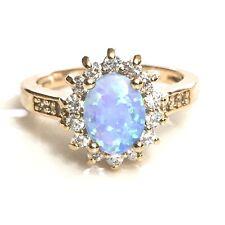 Blue Australian Oval Opal Diamond Halo Ring Women Wedding Jewelry Size 6 R635