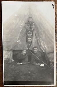 VINTAGE RPPC COMICAL SCENE AT WINDMILL HILL CAMP SALISBURY PLAIN 4TH WILTS 1929