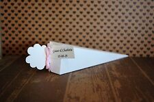 50 Real rose biodegradable confetti cones personalised tags and ribbon wedding