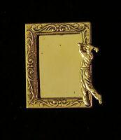 Golfer Male Photo Pin Brooch Golf 24 Karat Gold Plate Golfing