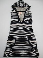 QUICKSILVER #DR640 Womens Size XS Cotton Hooded Striped Blue Sweater Tunic Dress